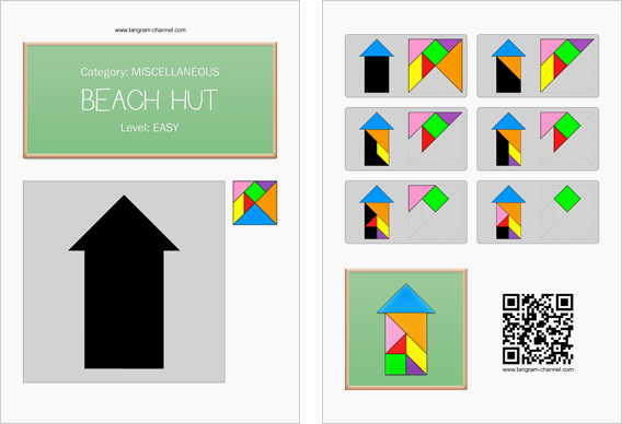 Tangram worksheet 48 : Beach hut - This worksheet is available for free download at http://www.tangram-channel.com