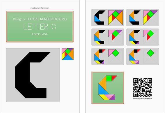Tangram worksheet 111 : Letter C - This worksheet is available for free download at http://www.tangram-channel.com