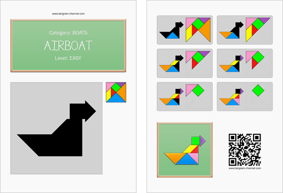 Tangram worksheet 182 : Airboat - This worksheet is available for free download at http://www.tangram-channel.com