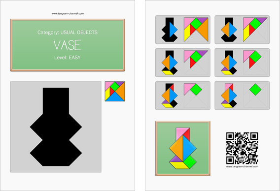 Tangram worksheet 235 : Vase - This worksheet is available for free download at http://www.tangram-channel.com