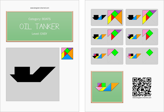 Tangram worksheet 200 : Oil tanker - This worksheet is available for free download at http://www.tangram-channel.com