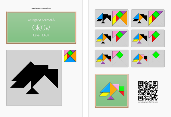 Tangram worksheet 142 : Crow - This worksheet is available for free download at http://www.tangram-channel.com