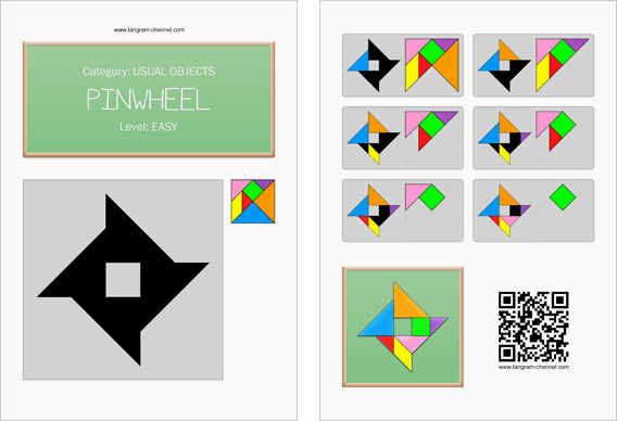 Tangram worksheet 85 : Pinwheel - This worksheet is available for free download at http://www.tangram-channel.com