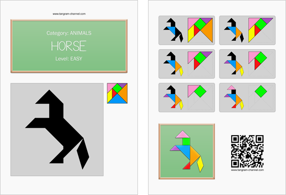Tangram worksheet 23 : Horse - This worksheet is available for free download at http://www.tangram-channel.com