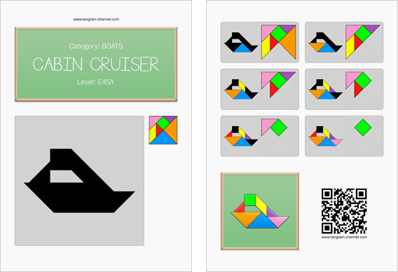 Tangram worksheet 103 : Cabin cruiser - This worksheet is available for free download at http://www.tangram-channel.com