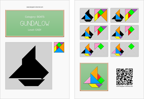 Tangram worksheet 266 : Gundalow - This worksheet is available for free download at http://www.tangram-channel.com
