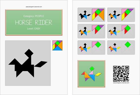 Tangram worksheet 161 : Horse rider - This worksheet is available for free download at http://www.tangram-channel.com