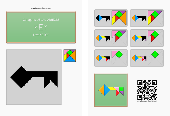 Tangram worksheet 75 : Key - This worksheet is available for free download at http://www.tangram-channel.com