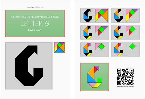 Tangram worksheet 112 : Letter G - This worksheet is available for free download at http://www.tangram-channel.com