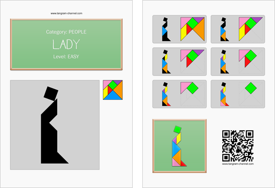 Tangram worksheet 56 : Lady - This worksheet is available for free download at http://www.tangram-channel.com