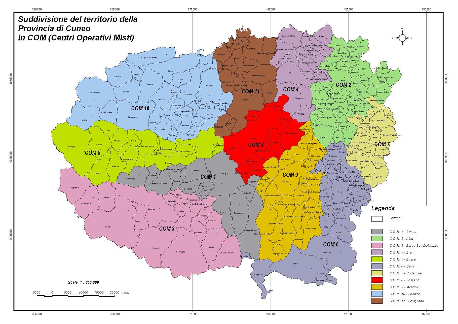 Mappa dei c o m provincia di cuneo protezione civile for Arredamenti cuneo e provincia