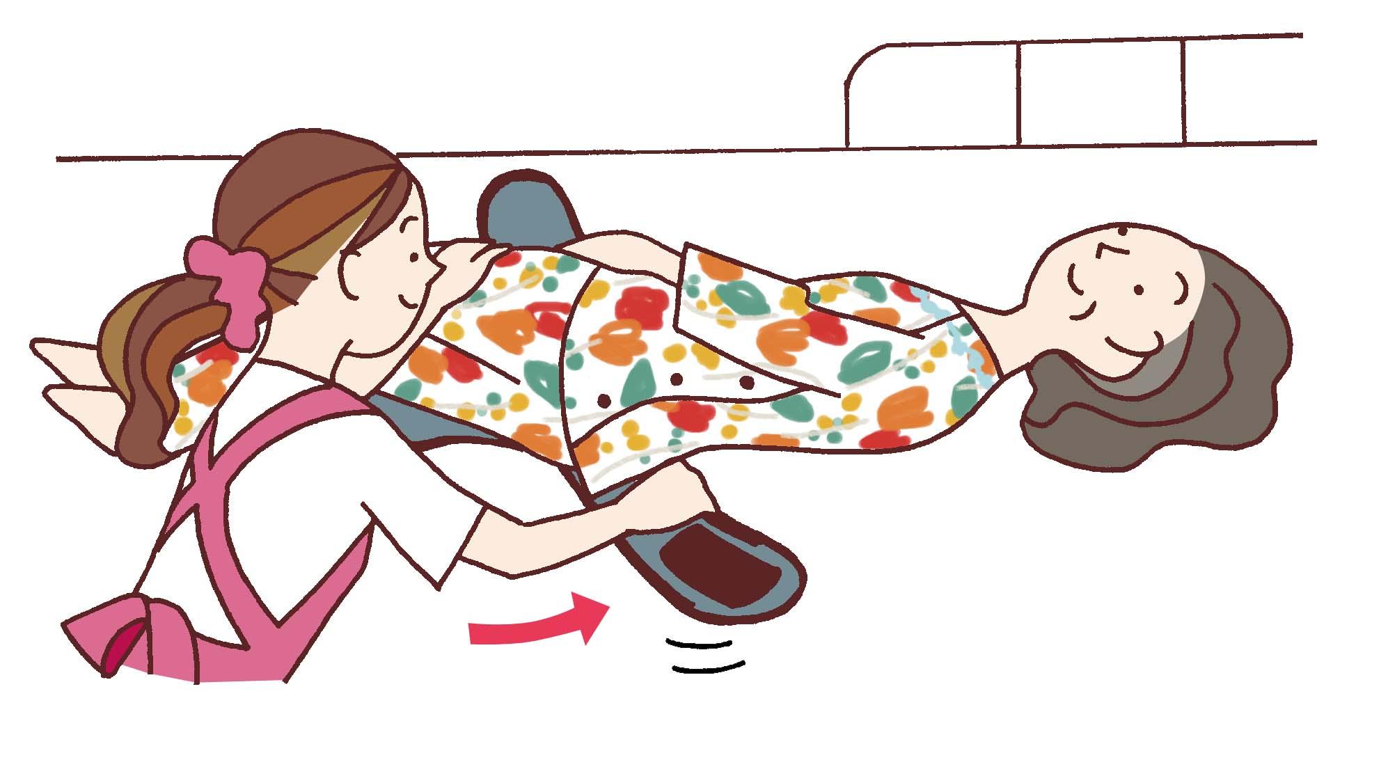 膝を右に倒しながら、左の腰巻部をずり上げます
