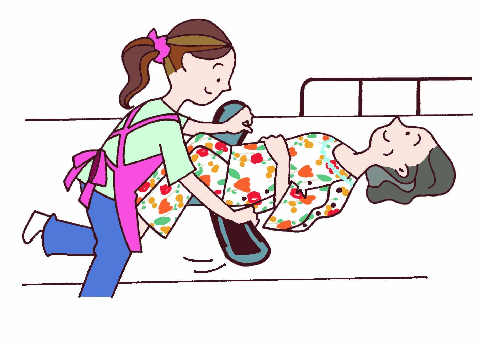 膝の下からキャリコルを滑らせ、ピンと張って腰の下に置きます
