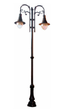 """Poste NAPOLI 2 LUCES, fabricado con tubo recto de 5m de altura, caña de 3"""" ced. 30 con placa base de 25 x 25 cm. y 19 cm entre centros, faldón de aluminio cubre ancla de 1.10 cm. de altura con un adorno tipo anillo, sist. de 1,2,3o 4 ménsulas Rizo Napoli."""