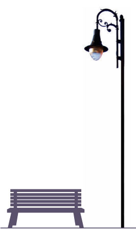 """Poste MILANO 1 LUZ,  fabricado con tubo recto de 5 metros de altura, caña de 3"""" cédula 30 con placa base de 25 x 25 cm. Y 19 cm entre centros con un sistema para sujetar al poste. 1,2,3 o 4- ménsulas tipo Rizo Napoli con alfín tipo bellota en la punta."""