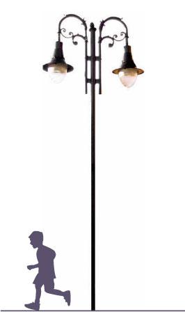 """Poste MILANO 2 LUCES,  fabricado  con tubo recto de 5 m. de altura caña de 3"""" cédula 30 con placa de 25 cm x 25 cm  y 19 cm entre centros con un sistema para sujetar al poste. 1,2,3 o 4- ménsulas tipo Rizo Napoli con alfín tipo bellota en la punta. Dilae"""