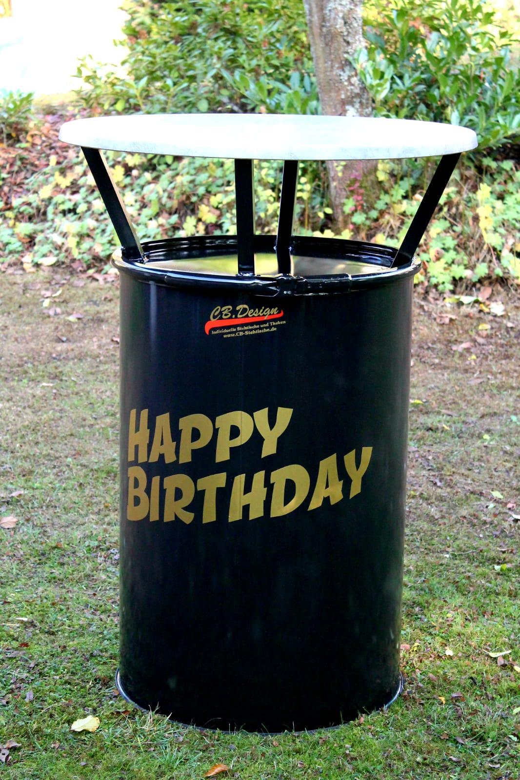 Stehtisch aus Ölfass mit Goldschrift als Geburtstagsgeschenk