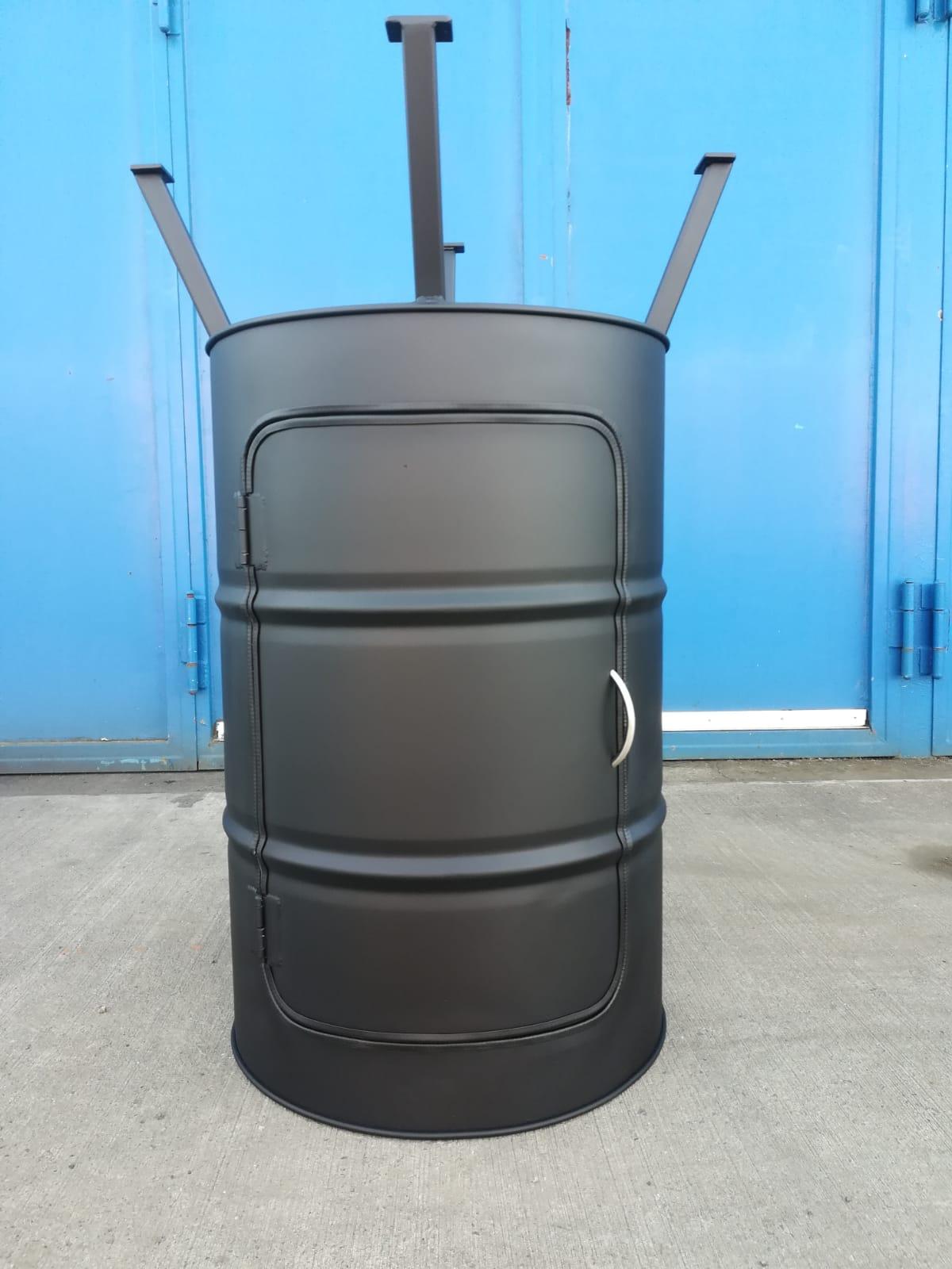Ölfassstehtisch mit Tür - schwarz matt