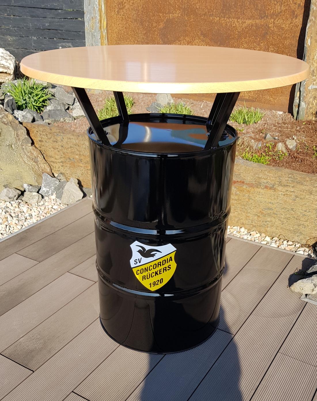 Fass Stehtisch für SV Concordia Rückers in schwarz glänzend und 1m Tischplatte