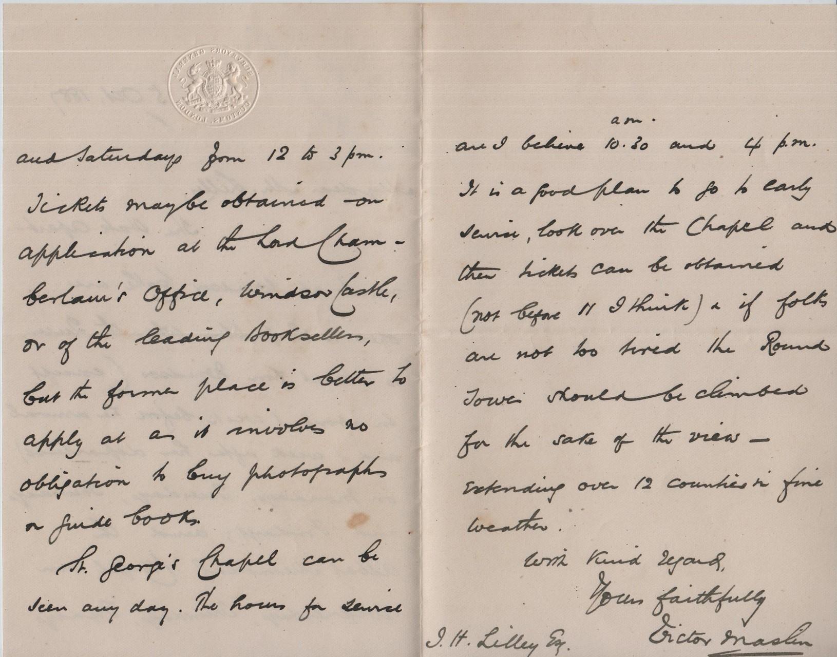 18871005 Victor Maslin to JHL