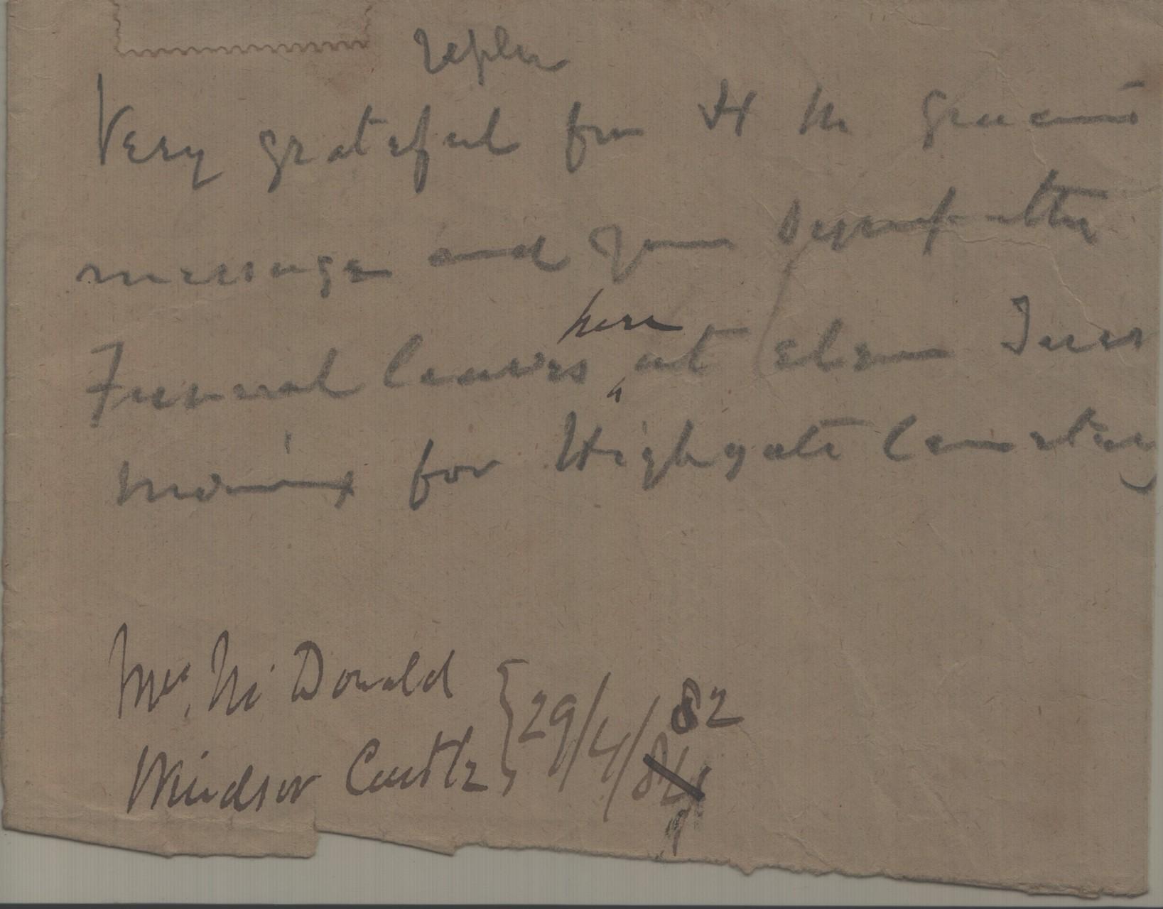 1882 April 29th JHL to Queen via AMcD