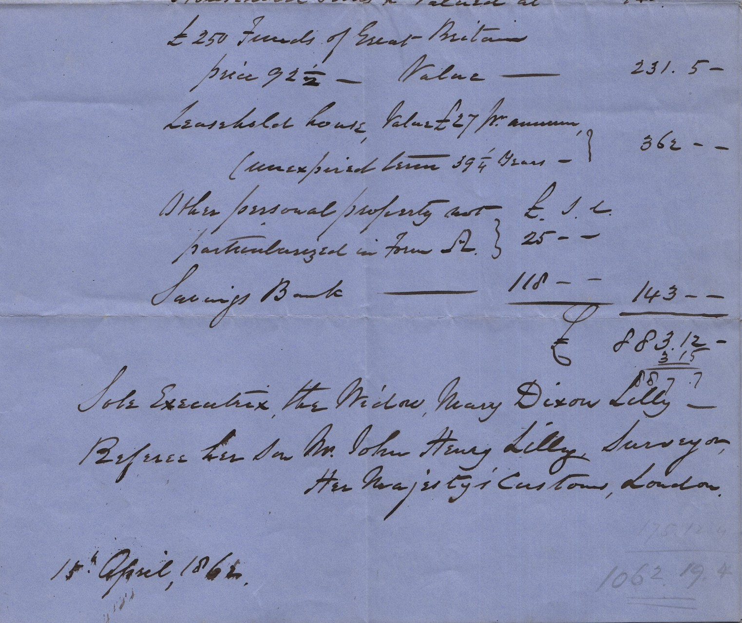 1862 James Lilly probate