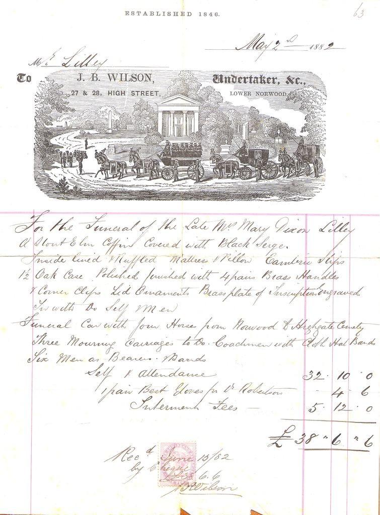 1882 Undertaker's invoice