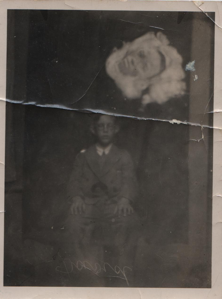 David circa 1933 with 'ectoplasm apparition'