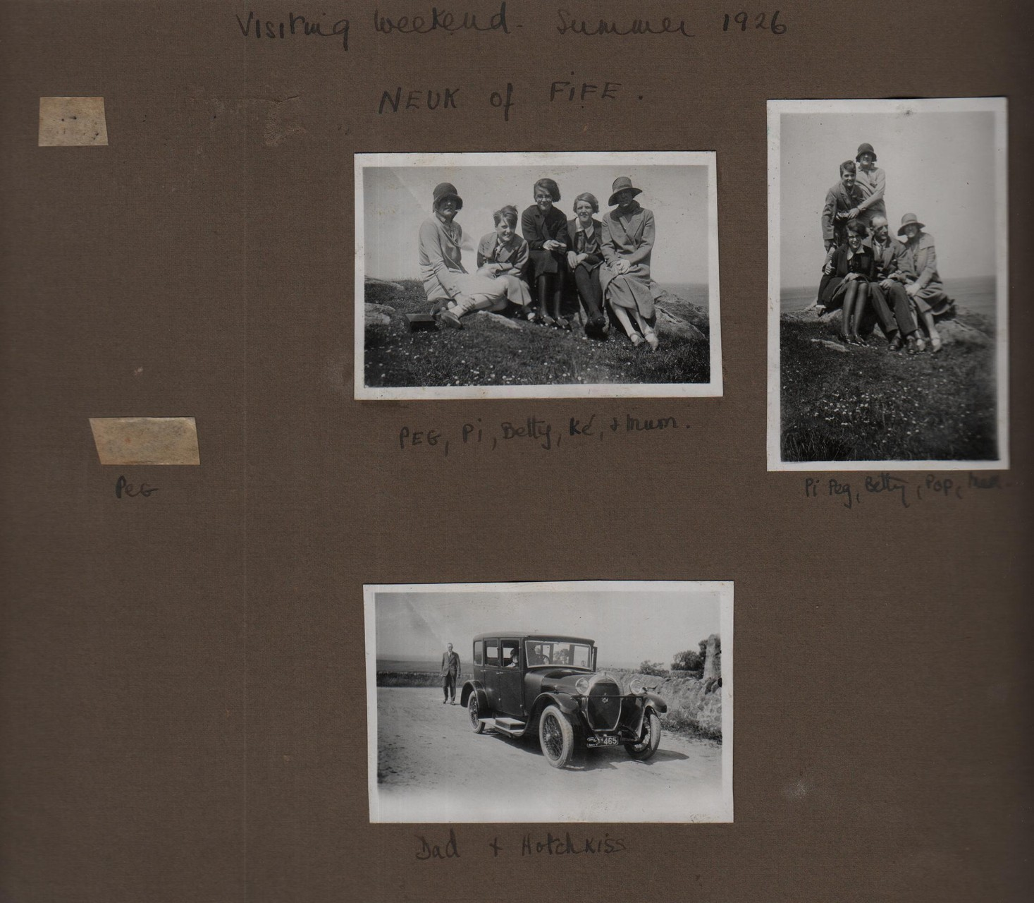 Visiting weekend Summer 1926 Neuk of Fife: Peg, Pi, Betty, Ke and Mum; Pi, Peg Betty, Pop, Mum; Dad and Hotchkiss