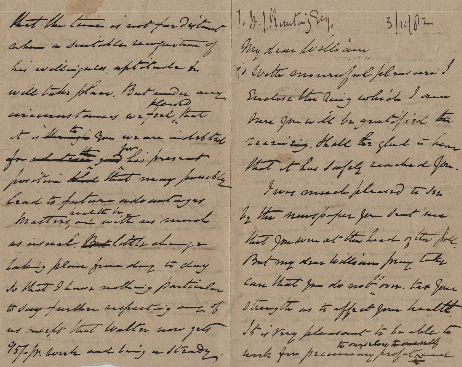 1882 November 3rd JHL to WJR