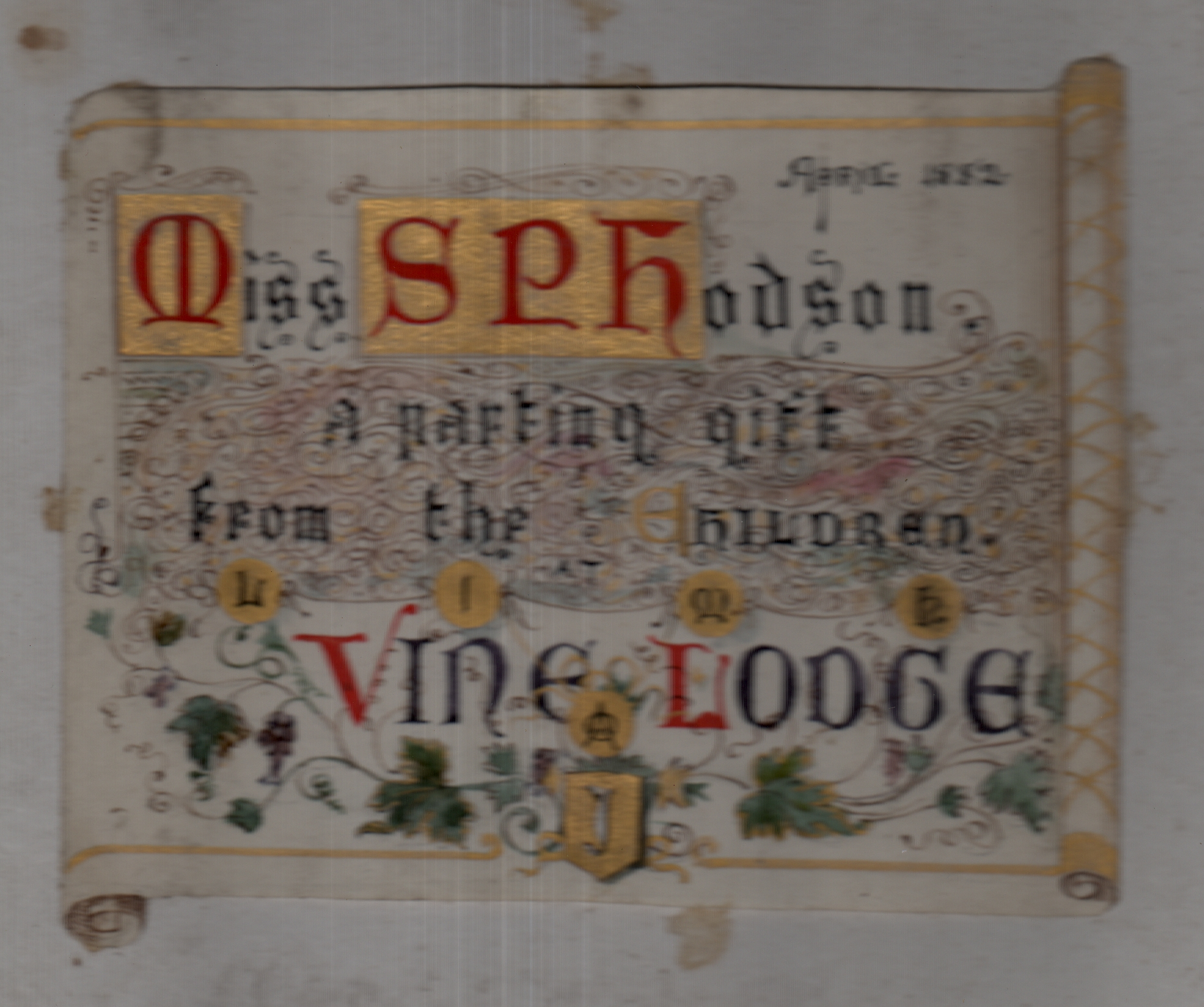 Selina P Hodson 1826-1928 to whom the album was given. Vine Lodge was presambly a school, possibly in the Elsworth area.