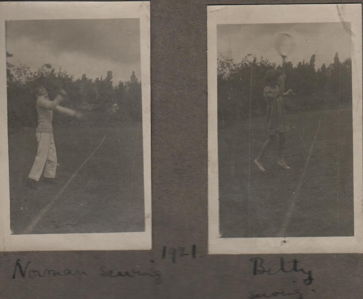 1921: Norman serving; Betty serving