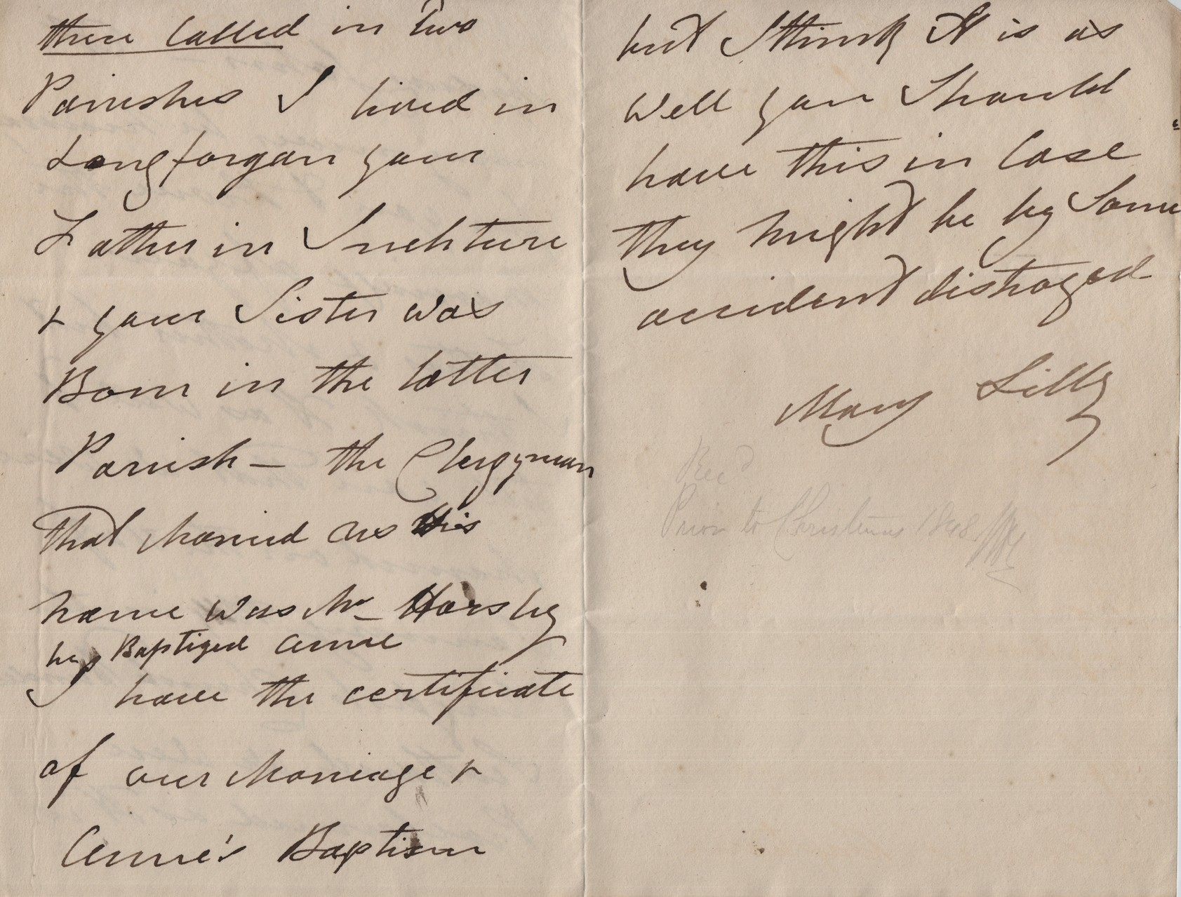From MDL to JHL rec'd prior to Christmas 1848
