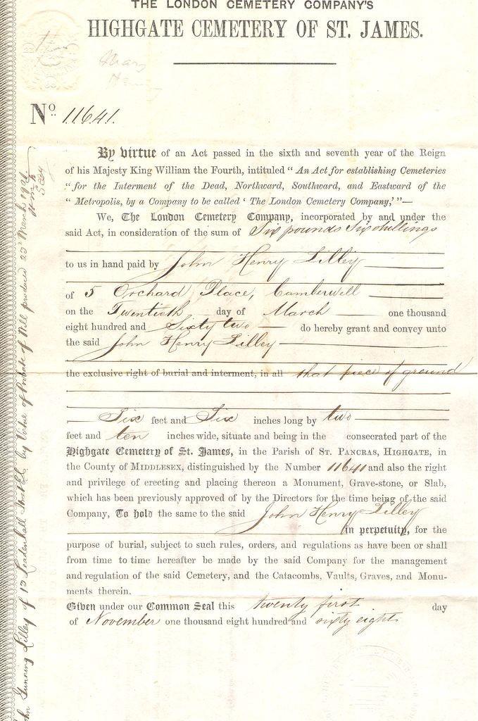1882 London Cemetary Company licence