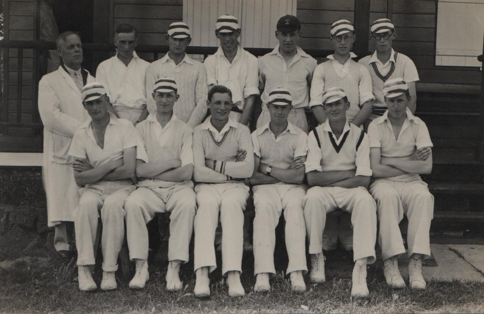 1937 Southend High School cricket 1st XI David second on right, back row