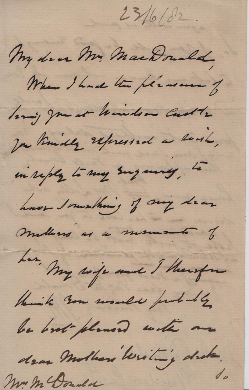1882 June 23rd JHL to AMcD