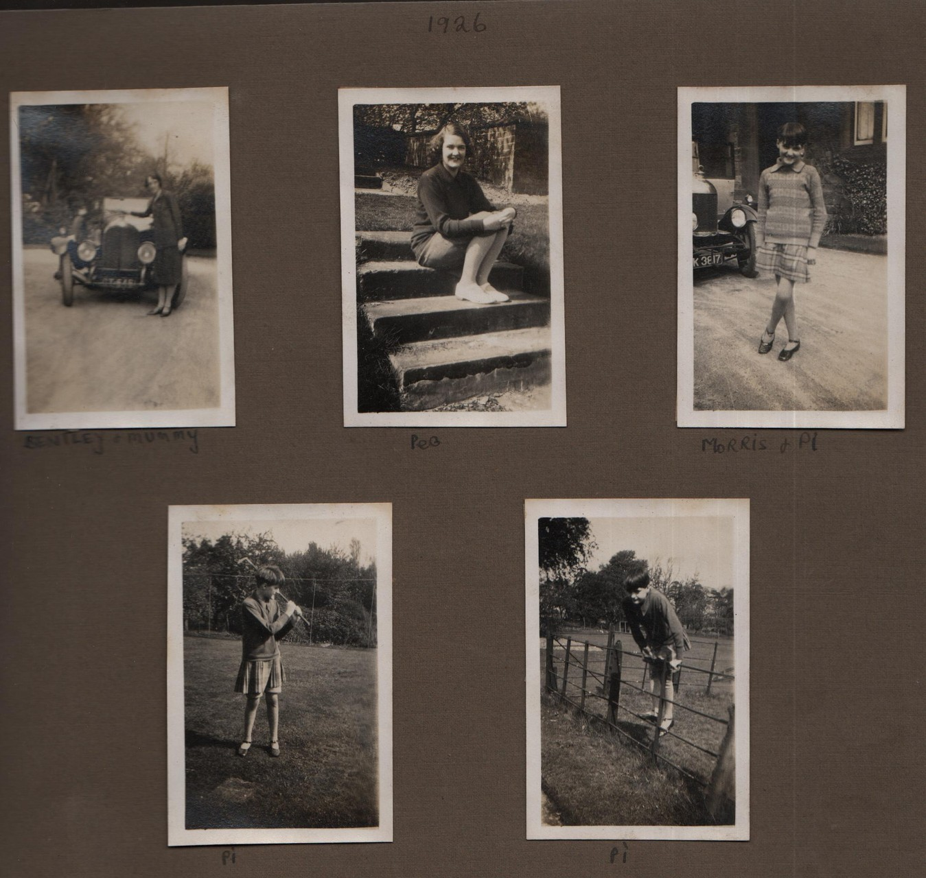 1926: Bentley and mummy; Peg; Morris and Pi; Pi; Pi