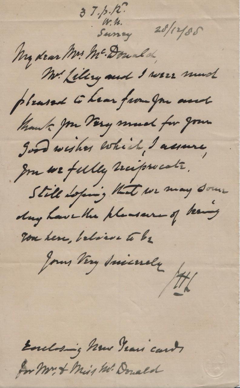 1888 December 28th JHL to AMcD