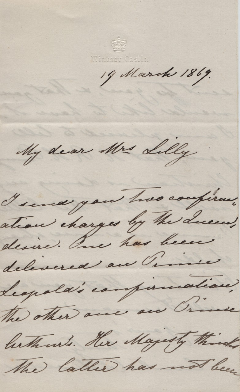 1869 message from Queen to MDL