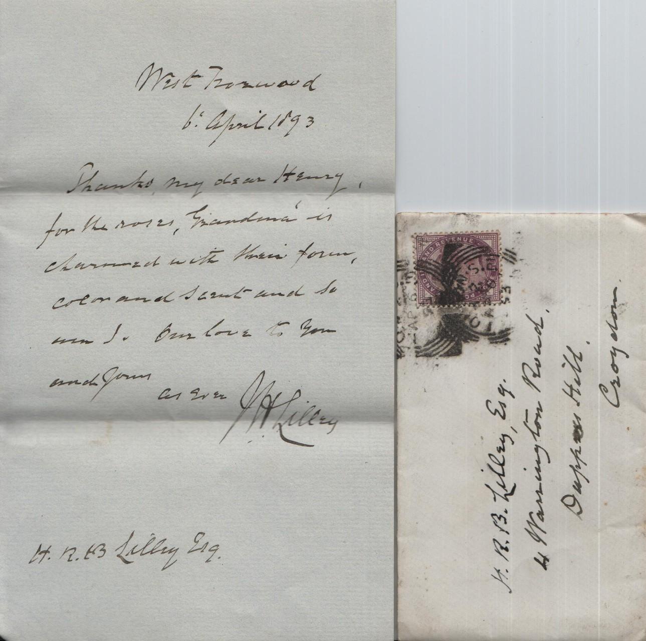 1893 April 6th JHL to HRBL