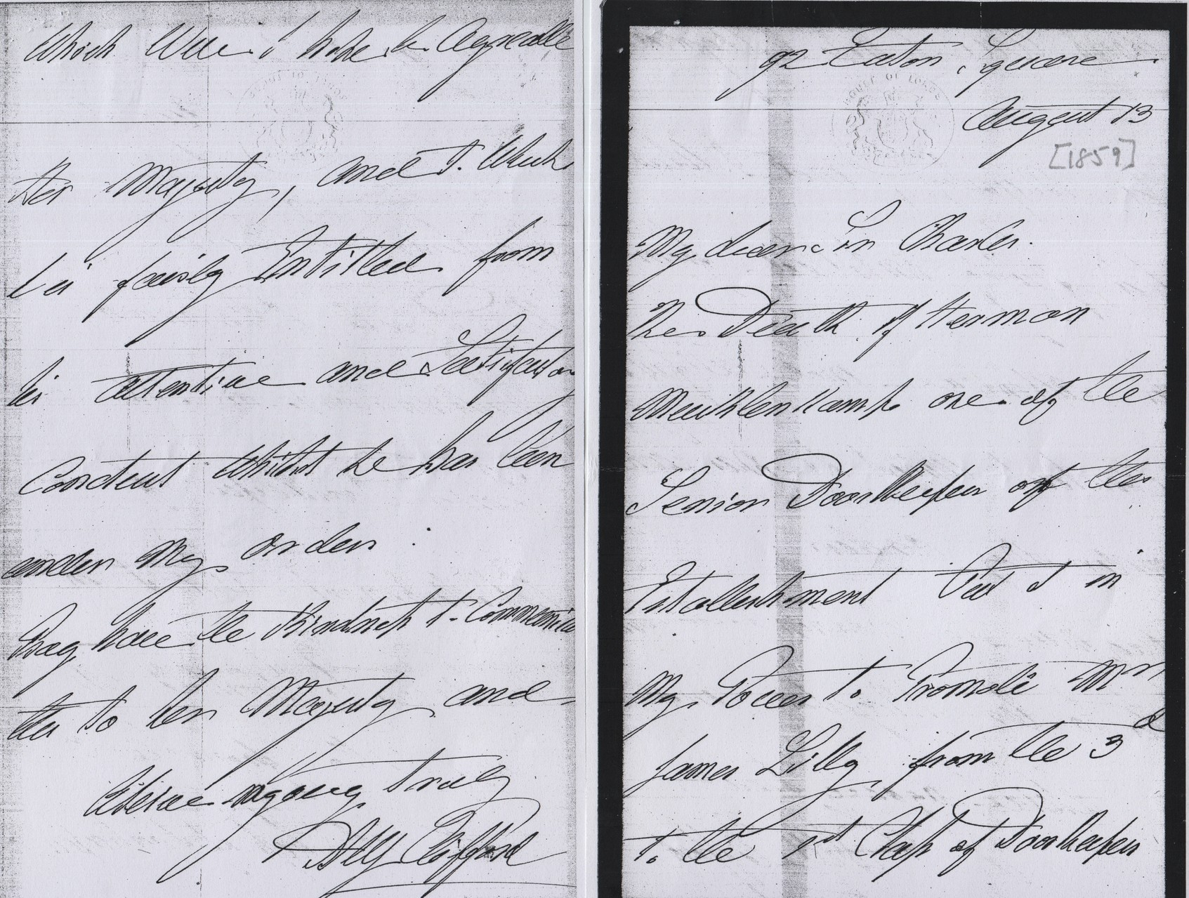 1859 letter from Lord Clifford re appointment of James Lilly