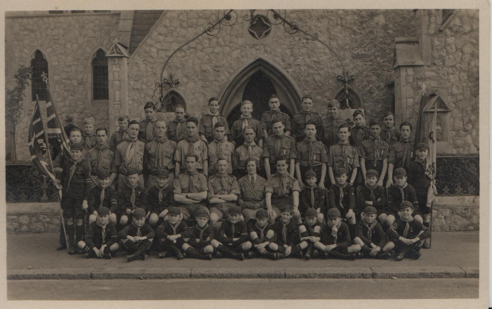 circa 1930: Cliftown Congregational Church, Southend-on-Sea: cubs and scouts. David second from left, second row