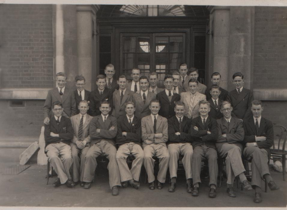1937 Southend High School for Boys 5th Form. David second from right, front row.