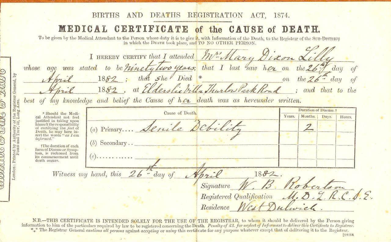 1882 death certificate