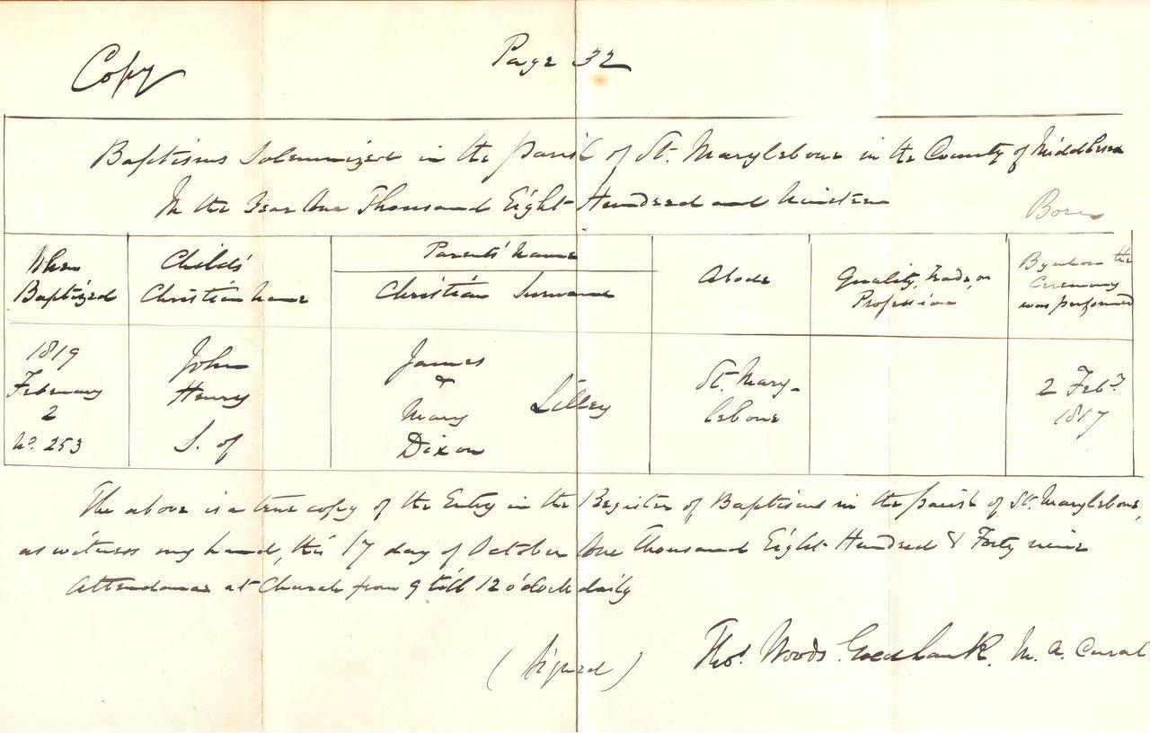 1817 baptism of her son, John Henry