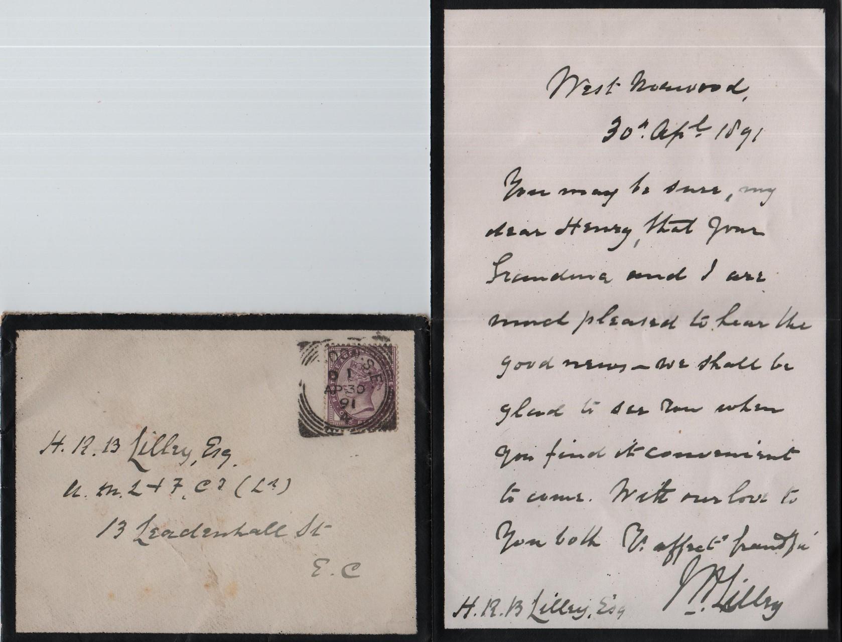 1891 April 30th JHL to HRBL