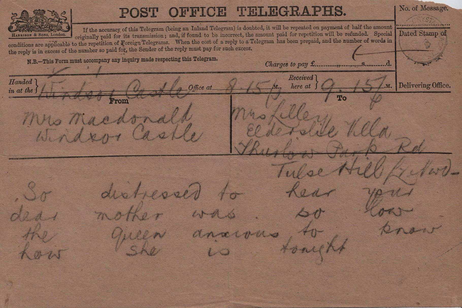 1882 April Telegram from AMcD on healf of Queen to JHL