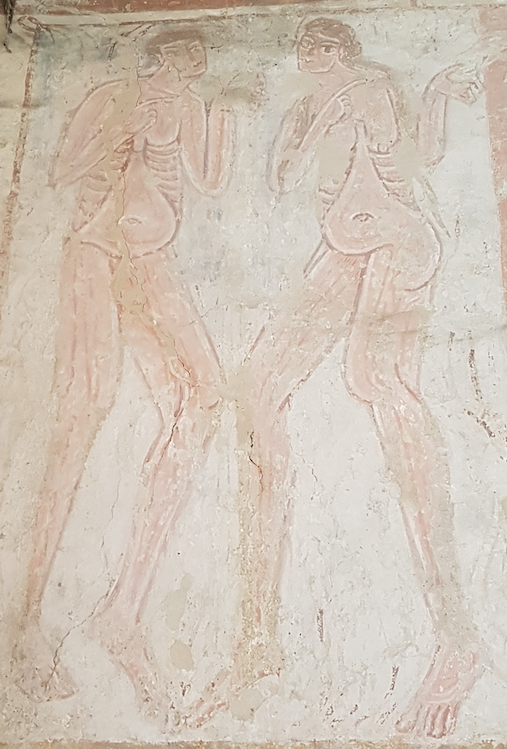 The church is filled with 12th century Cluniac wall paintings. Adam and Eve in Anglo-Norman style.