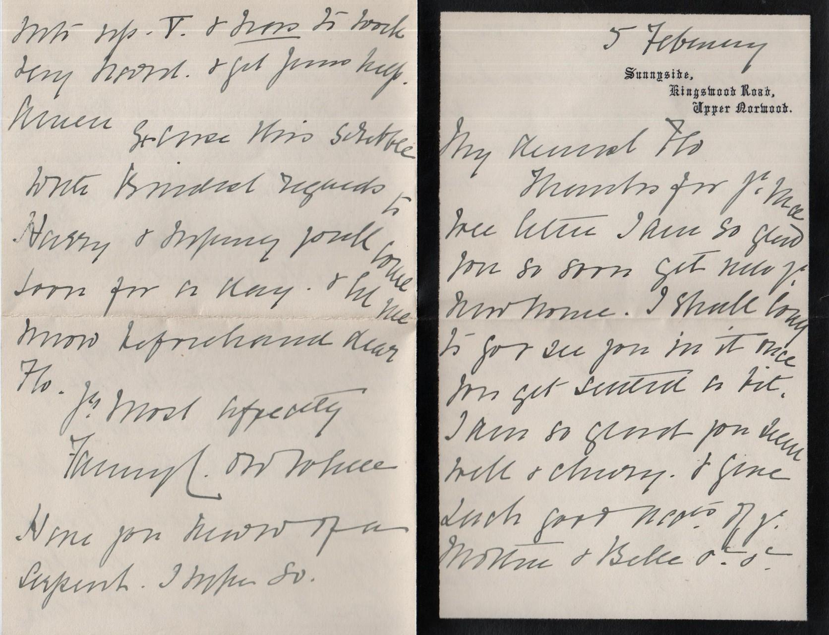 1891 February 5th Fanny to Flo
