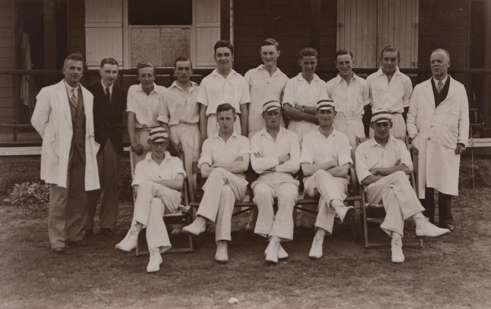 1936 Southend High School cricket 1st XI David first on left right, front row